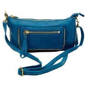 Linea Pelle Blue Zipper Crossbody Bag